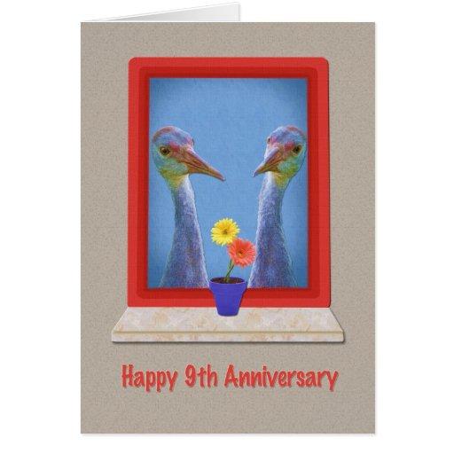 Anniversary, 9th, Two Sandhill Cranes Cards
