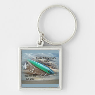 Anniversary - AJS Green Swimmer Fishing Lure Silver-Colored Square Keychain