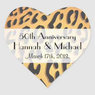 Anniversary - Animal Print, Cheetah - Black Yellow Heart Sticker