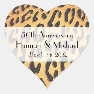 Anniversary - Animal Print, Cheetah - Yellow Black Heart Stickers