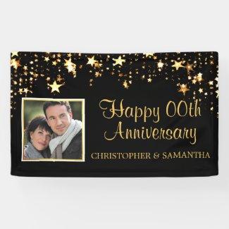 Anniversary | ANY Year | Black & Gold Photo Banner
