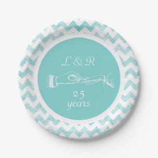 Anniversary Aqua Glitter Chevron Paper Plate