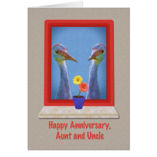 Anniversary, Aunt and Uncle, Young Sandhill Cranes Card