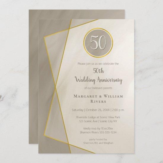 anniversary birthday 50th antique gray gold frame invitation