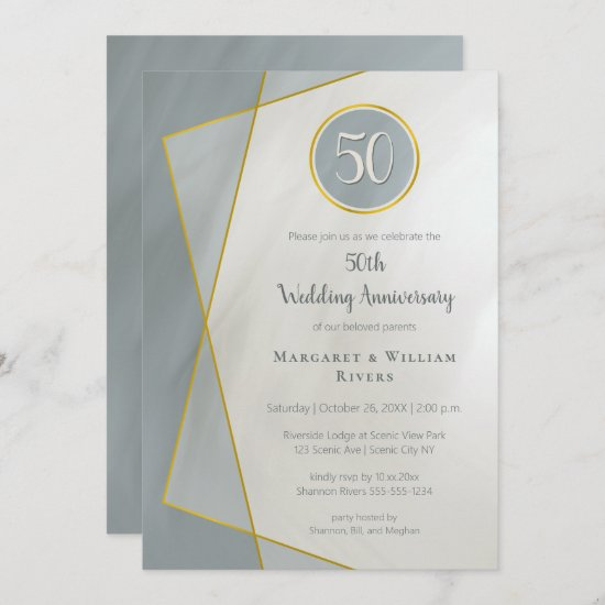 anniversary birthday 50th dusty blue w gold frame invitation