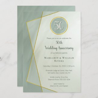 anniversary birthday 50th grayed jade w gold frame invitation
