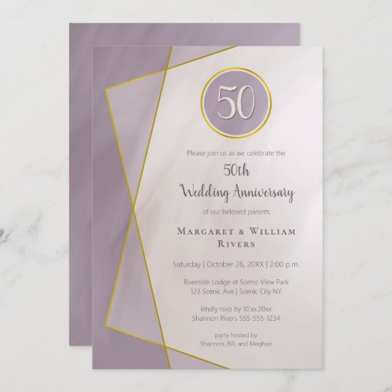 anniversary birthday 50th muted plum gold frame invitation