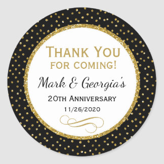 Anniversary Black Gold Thank You Favor Tags