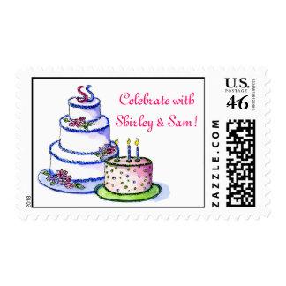 anniversary cake and birthday cake, Celebrate w... Stamp