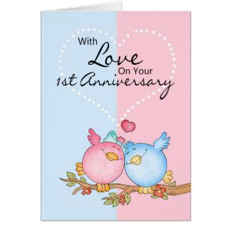 anniversary card - 1st anniversary love birds