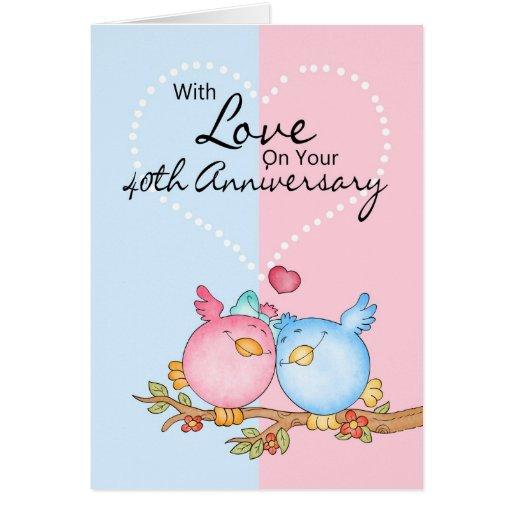 anniversary card - 40th anniversary love birds