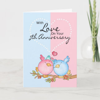 anniversary card - 5th anniversary love birds