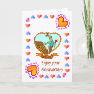 Anniversary card 5th wood