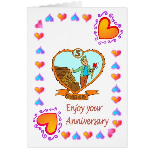 Anniversary card 5th wood
