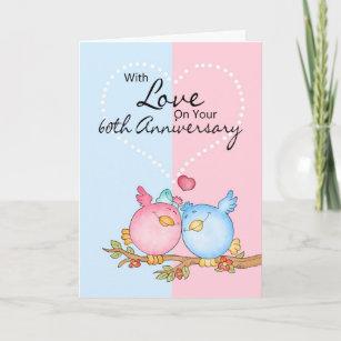 60th anniversary cards zazzle anniversary card 60th anniversary love birds m4hsunfo