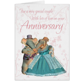 Anniversary card for a special couple with elephan