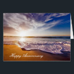 """Anniversary card with Beautiful Beach Shoreline<br><div class=""""desc"""">Beautiful ocean waves anniversary card. You can edit the text to say whatever you&#39;d like.</div>"""