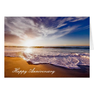 Anniversary card with Beautiful Beach Shoreline