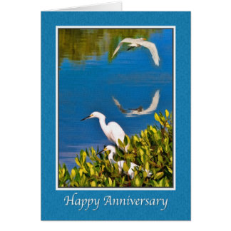 Anniversary Card with Egret Birds