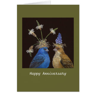 Anniversary card with indigo buntings