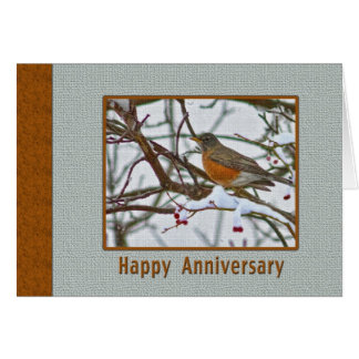 Anniversary Card with Robin in the Snow
