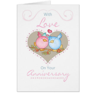 Anniversary Card With Two Loving Birds - Anniversa