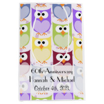 Anniversary - Colorful Owls - Green Blue Purple Medium Gift Bag