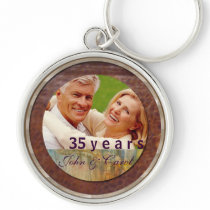 Anniversary customizable leather and silver keychain