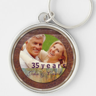 Anniversary customizable leather and silver Silver-Colored round keychain