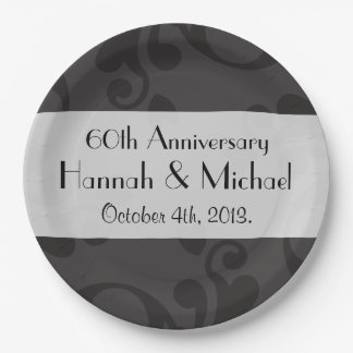 Anniversary - Damask, Ornaments, Swirls - Gray Paper Plate