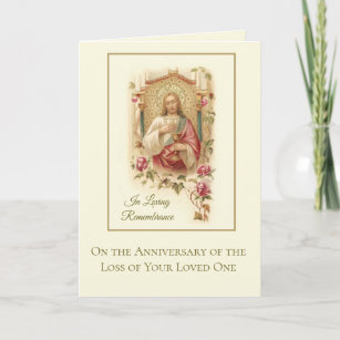 Death anniversary gifts on zazzle anniversary death loved one sacred heart jesus card stopboris Choice Image