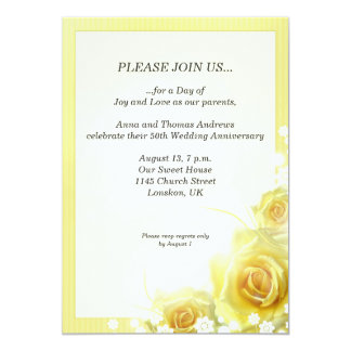 Anniversary dinner invitation with yellow roses