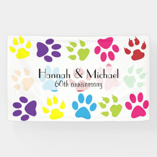 Anniversary - Dog Paws, Paw-prints - Blue Green Banner