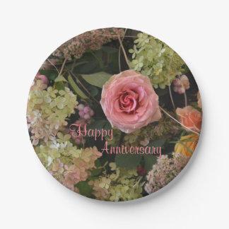 Anniversary Floral Bouquet Paper Plate