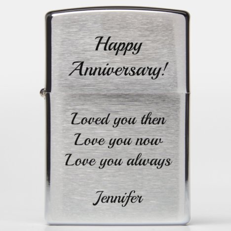 Anniversary Gift Zippo Lighter with YOUR TEXT