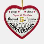 Anniversary Gifts 5th-Christmas Double-Sided Heart Ceramic Christmas Ornament