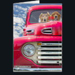 """Anniversary-Golden Retrievers in vintage truck Card<br><div class=""""desc"""">Pair of golden retrievers in a red vintage truck with sky background for general wedding anniversary.</div>"""