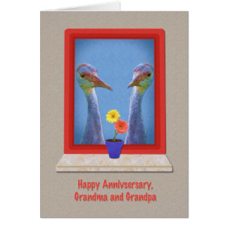 Anniversary, Grandparents,  Crane Birds Card