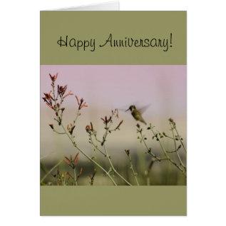 Anniversary Greeting Card with Hummingbird Design at Zazzle