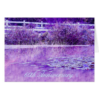 Anniversary Greeting Card with Purple Lily Pond.