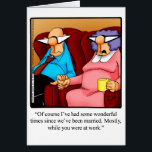 """Anniversary Humor Greeting Card For Him<br><div class=""""desc"""">Enjoy spreading the laughter with this hilarious happy anniversary greeting card by artist Bill Abbott; send some laughs along with your love. Bill Abbott&#39;s cartoon &quot;Spectickles&quot; the internationally syndicated comic has also appeared in Hallmark U.K.,  Reader&#39;s Digest,  Saturday Evening Post and other fine magazines!</div>"""