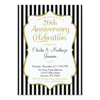 Anniversary Invitation Black Gold Elegant Stripe