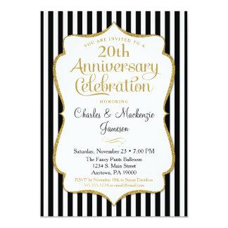Anniversary Invitation Black Gold Elegant Stripe