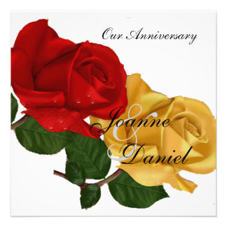 Anniversary Invite White Red Yellow Rose Floral Announcements