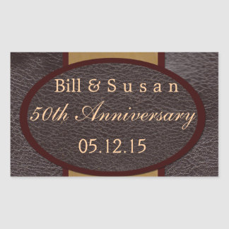 Anniversary leather and plaque tan label