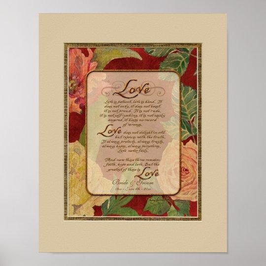 1 Corinthians 13 Wedding Invitations: Anniversary, Love Chapter 1 Corinthians 13 Poster