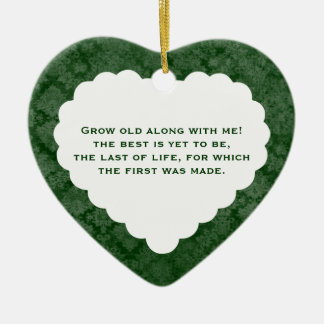 Anniversary Love Poem Personalized Green Gift Ceramic Ornament