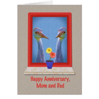 Anniversary, Mom and Dad, Young Sandhill Cranes Card