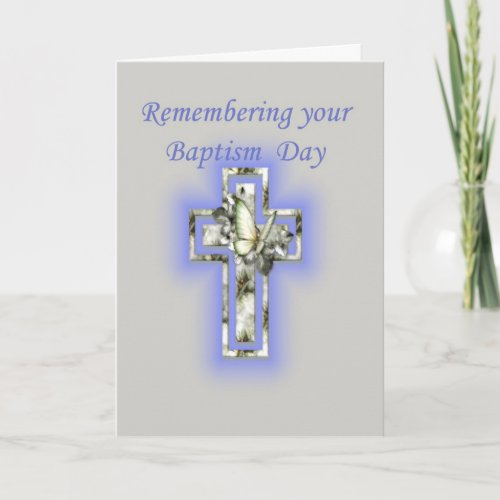 Anniversary of Baptism Cross and Butterfly Card