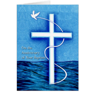 Anniversary of Baptism, Dove and Cross in Water Card